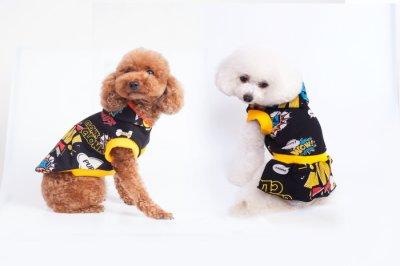 画像1: 「犬服フードTシャツ」 コミックフードTシャツ(XS〜XL)即日出荷出来ます!
