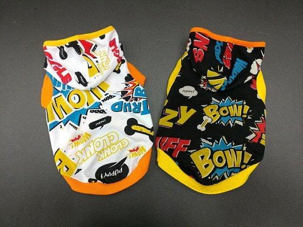 画像1: 「犬服フードTシャツ」 コミックフードTシャツ(XS〜XL)即日出荷出来ます! (1)
