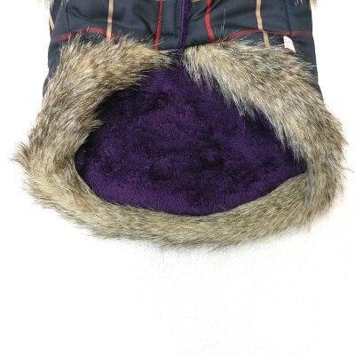画像3: [大型犬 服  ]チェックファーコート(3XL)