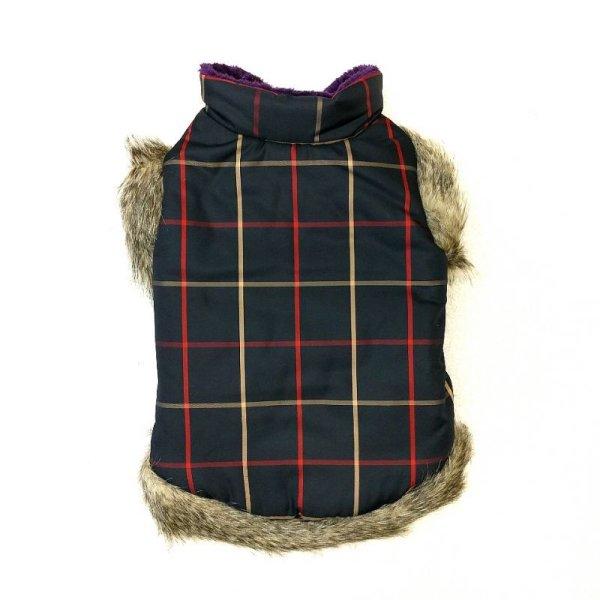 画像1: [大型犬 服  ]チェックファーコート(6XL) (1)