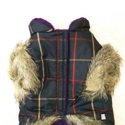 画像2: [大型犬 服  ]チェックファーコート(3XL)