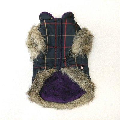 画像1: [大型犬 服  ]チェックファーコート(3XL)