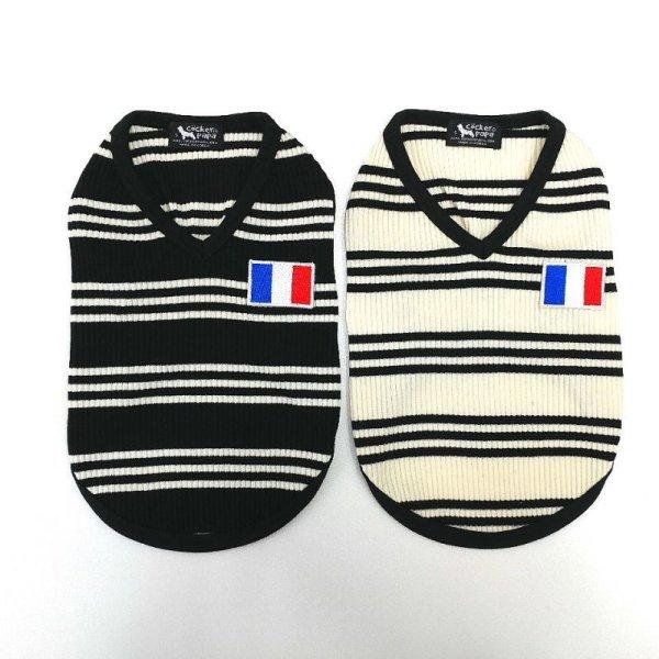 画像1: 「犬服Tシャツ」 フランスストライプVネック Tシャツ(XS〜XL) 即日出荷出来ます! (1)