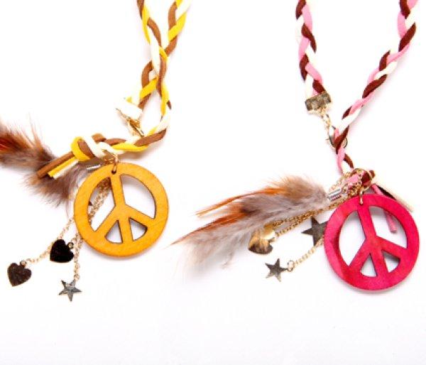 画像1: [犬のネックレス]PEACE&フェザーチョーカー (1)